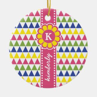 Colorful Geometric Pyramid Flower Ribbon Monogram Ceramic Ornament
