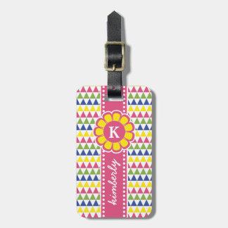 Colorful Geometric Pyramid Flower Ribbon Monogram Luggage Tag
