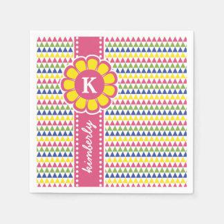 Colorful Geometric Pyramid Flower Ribbon Monogram Napkin