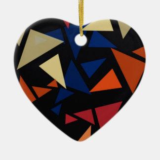 Colorful geometric Shapes Ceramic Heart Ornament