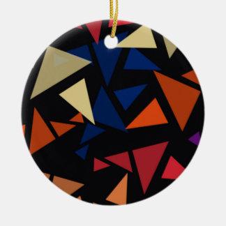 Colorful geometric Shapes Round Ceramic Ornament