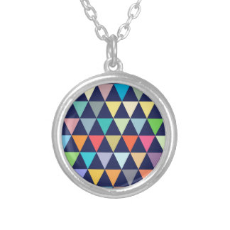 Colorful geometric silver plated necklace
