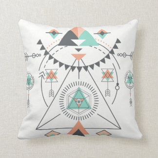 Colorful Geometric South-Western Totem Design Throw Pillow