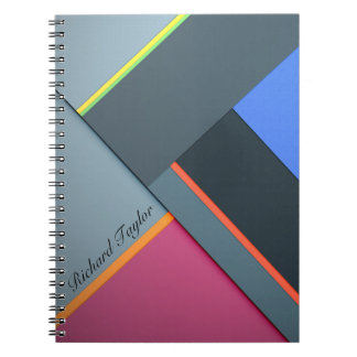 Colorful Geometric Stripes & Monogram Notebook