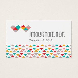 Colorful Geometric Triangle Hearts Wedding Business Card