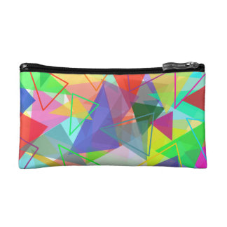 Colorful geometric triangle pattern cosmetic pouch cosmetics bags