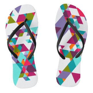 Colorful Geometric triangle pattern Flip Flops