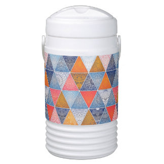 Colorful geometric triangles mandalas pattern cooler