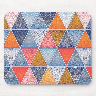 Colorful geometric triangles mandalas pattern mouse pad