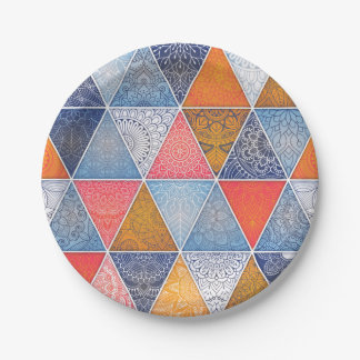 Colorful geometric triangles mandalas pattern paper plate