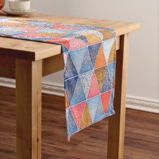 Colorful geometric triangles mandalas pattern short table runner