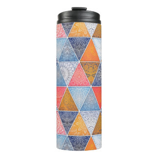 Colorful geometric triangles mandalas pattern thermal tumbler