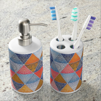 Colorful geometric triangles mandalas pattern toothbrush holders