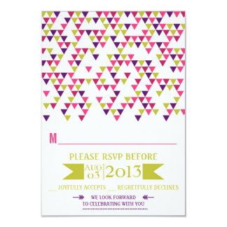 Colorful Geometric Triangles Mod Wedding RSVP Card