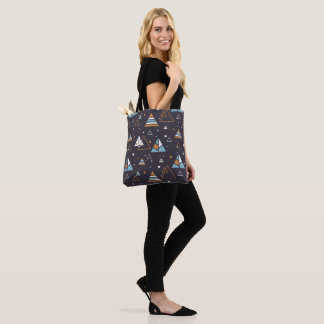 Colorful Geometric Triangles Pattern Tote Bag