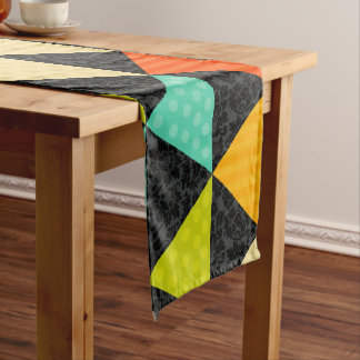 Colorful Geometric Triangles Short Table Runner