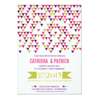 Colorful Geometric Triangles Wedding Invitation