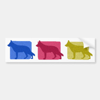 Colorful German Shepherd Silhouettes Bumper Sticker
