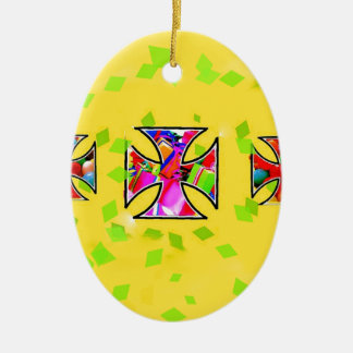 Colorful gifts are inside the iron cross ceramic oval ornament