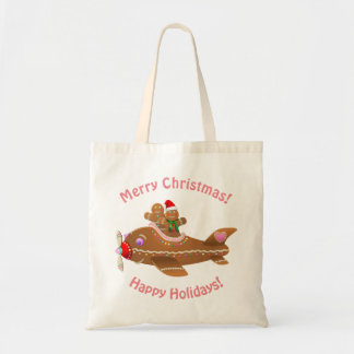 Colorful Gingerbread Airplane Cartoon Tote Bag