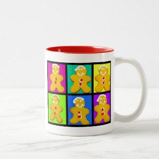 Colorful gingerbread men Two-Tone coffee mug