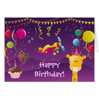 Colorful Giraffe, Plane, Cake & Balloons Birthday Card