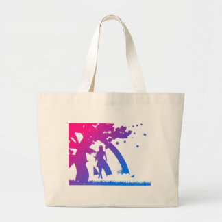Colorful girl on swing silhouette large tote bag