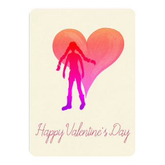 Colorful girl with long braids and big heart card
