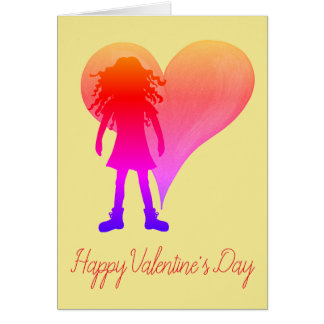 Colorful girl with long curly hair and big heart card