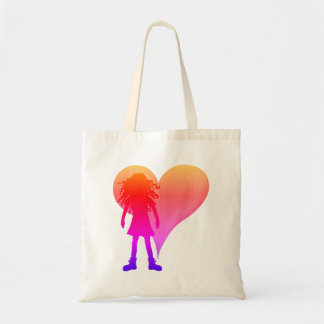 Colorful girl with long curly hair and big heart tote bag
