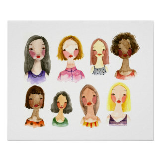 Colorful Girls Art Poster