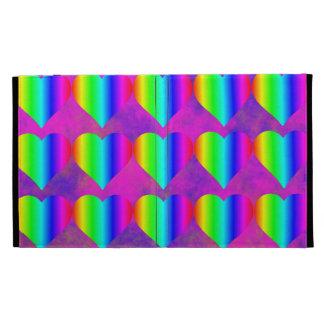 Colorful Girly Rainbow Hearts Fun Teen Pattern iPad Folio Covers