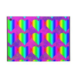 Colorful Girly Rainbow Hearts Fun Teen Pattern iPad Mini Covers