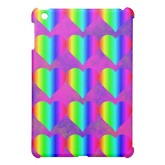 Colorful Girly Rainbow Hearts Fun Teen Pattern Case For The iPad Mini