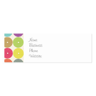 Colorful Girly Spring Pastel Circle Disks Pattern Double-Sided Mini Business Cards (Pack Of 20)