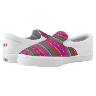Colorful Girly Stripes Zipz Slip On Shoe