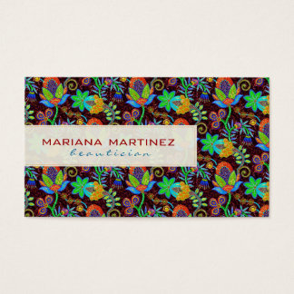 Colorful Glass Beads Look Retro Floral Design 2 Business Card