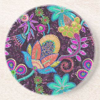Colorful Glass Beads Look Retro Floral Design Coaster