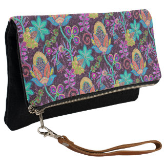 Colorful Glass Beads Print Exotic Floral Pattern Clutch