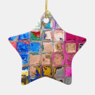 Colorful glass blocks texture ceramic ornament