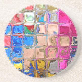 Colorful glass blocks texture coaster