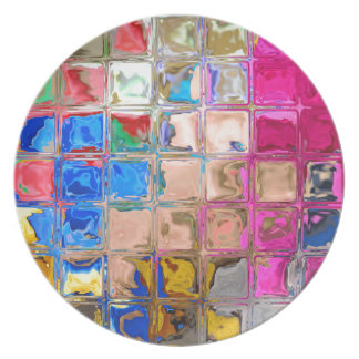 Colorful glass blocks texture party plates