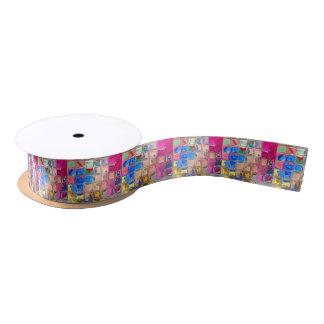 Colorful glass blocks texture satin ribbon