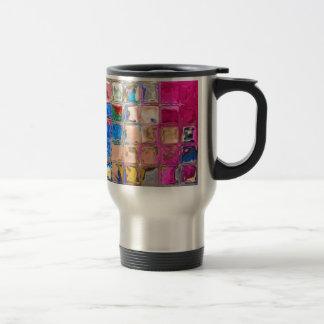 Colorful glass blocks texture travel mug
