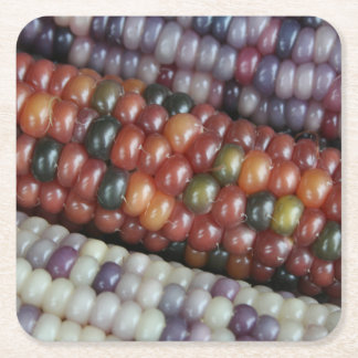Colorful Glass Gem Corn on the Cob Square Paper Coaster