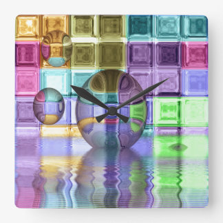 Colorful Glass Tile Worlds Wall Clock