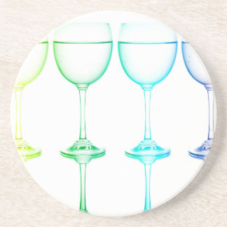 Colorful glasses in front of white background drink coasters