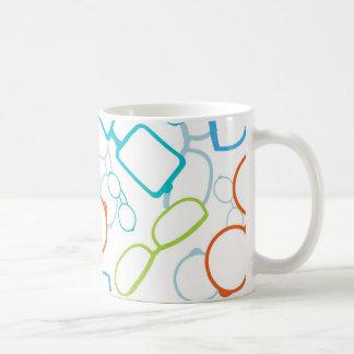 Colorful glasses pattern basic white mug