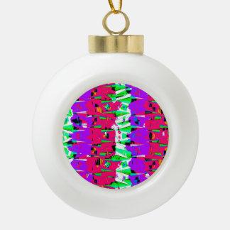 Colorful Glitch Pattern Design Ceramic Ball Christmas Ornament