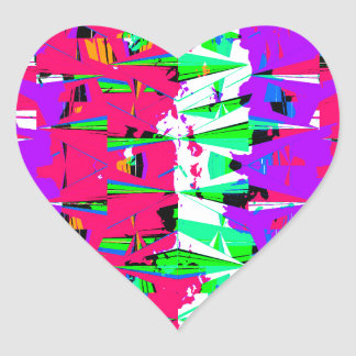 Colorful Glitch Pattern Design Heart Sticker